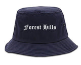 Forest Hills Tennessee TN Old English Mens Bucket Hat Navy Blue