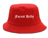 Forest Hills Tennessee TN Old English Mens Bucket Hat Red