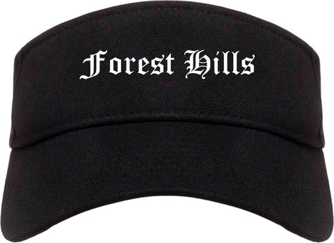 Forest Hills Tennessee TN Old English Mens Visor Cap Hat Black