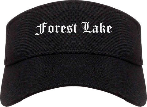 Forest Lake Minnesota MN Old English Mens Visor Cap Hat Black