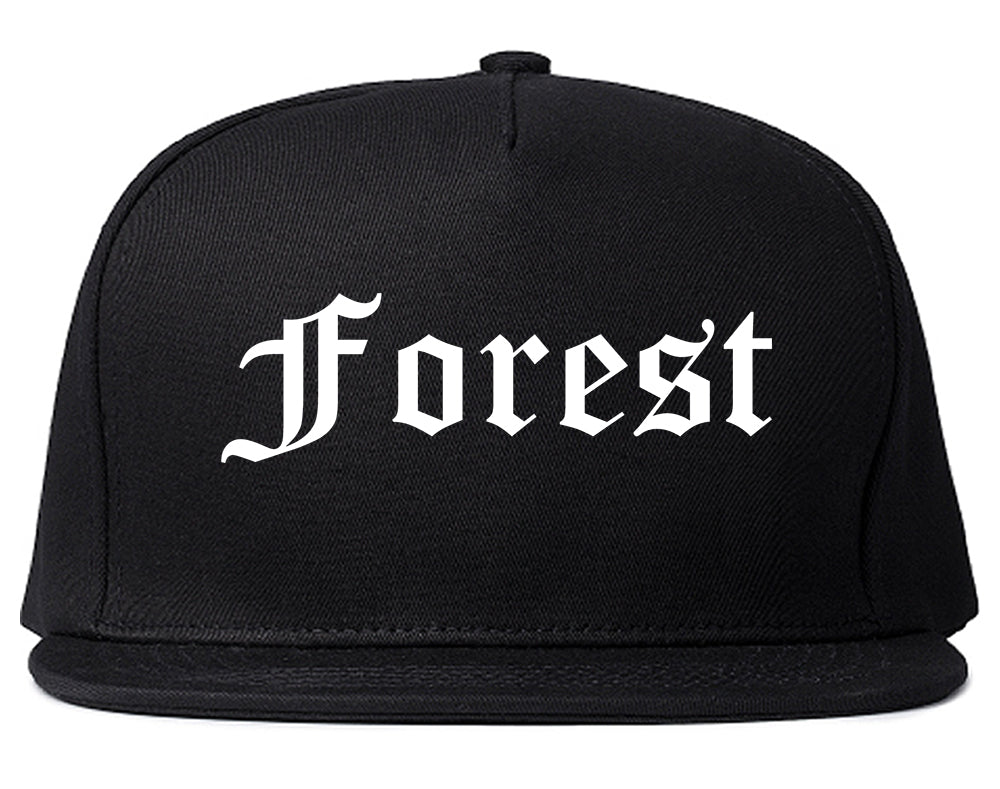 Forest Mississippi MS Old English Mens Snapback Hat Black