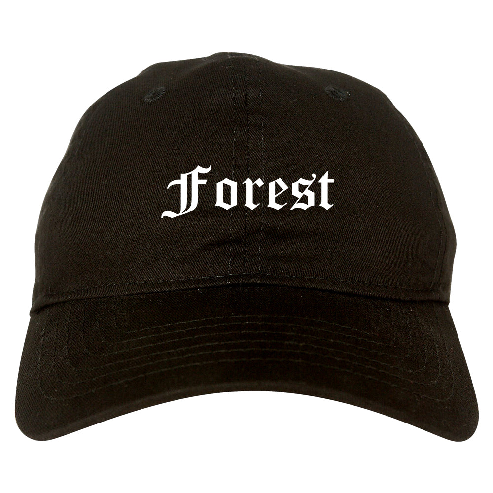 Forest Mississippi MS Old English Mens Dad Hat Baseball Cap Black