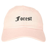 Forest Mississippi MS Old English Mens Dad Hat Baseball Cap Pink