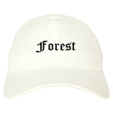 Forest Mississippi MS Old English Mens Dad Hat Baseball Cap White
