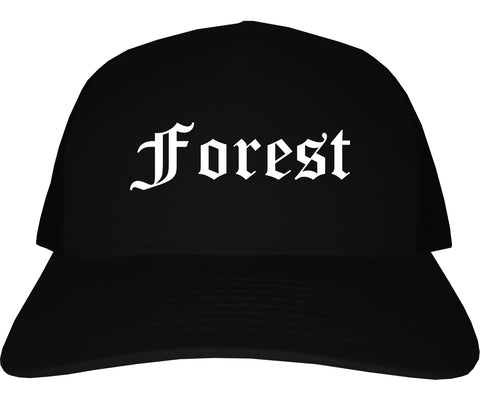 Forest Mississippi MS Old English Mens Trucker Hat Cap Black