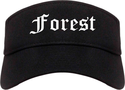 Forest Mississippi MS Old English Mens Visor Cap Hat Black