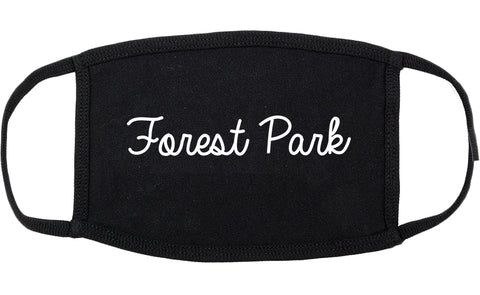 Forest Park Illinois IL Script Cotton Face Mask Black