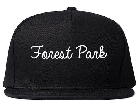 Forest Park Illinois IL Script Mens Snapback Hat Black