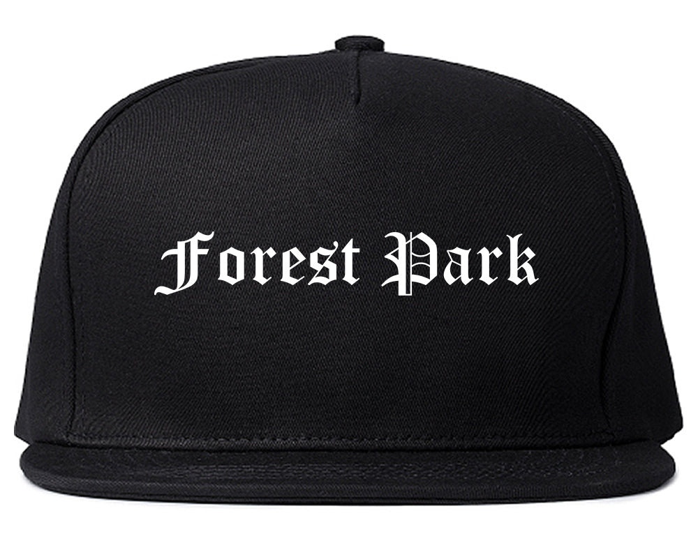 Forest Park Ohio OH Old English Mens Snapback Hat Black