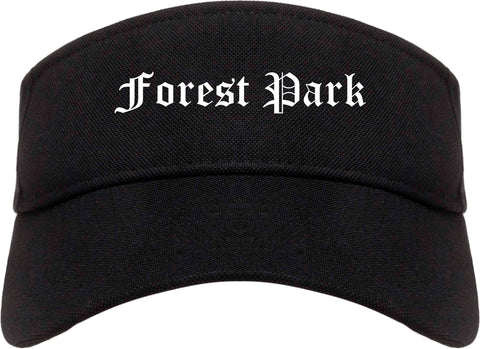 Forest Park Ohio OH Old English Mens Visor Cap Hat Black