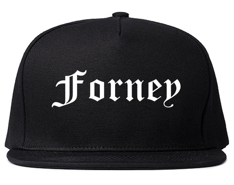 Forney Texas TX Old English Mens Snapback Hat Black