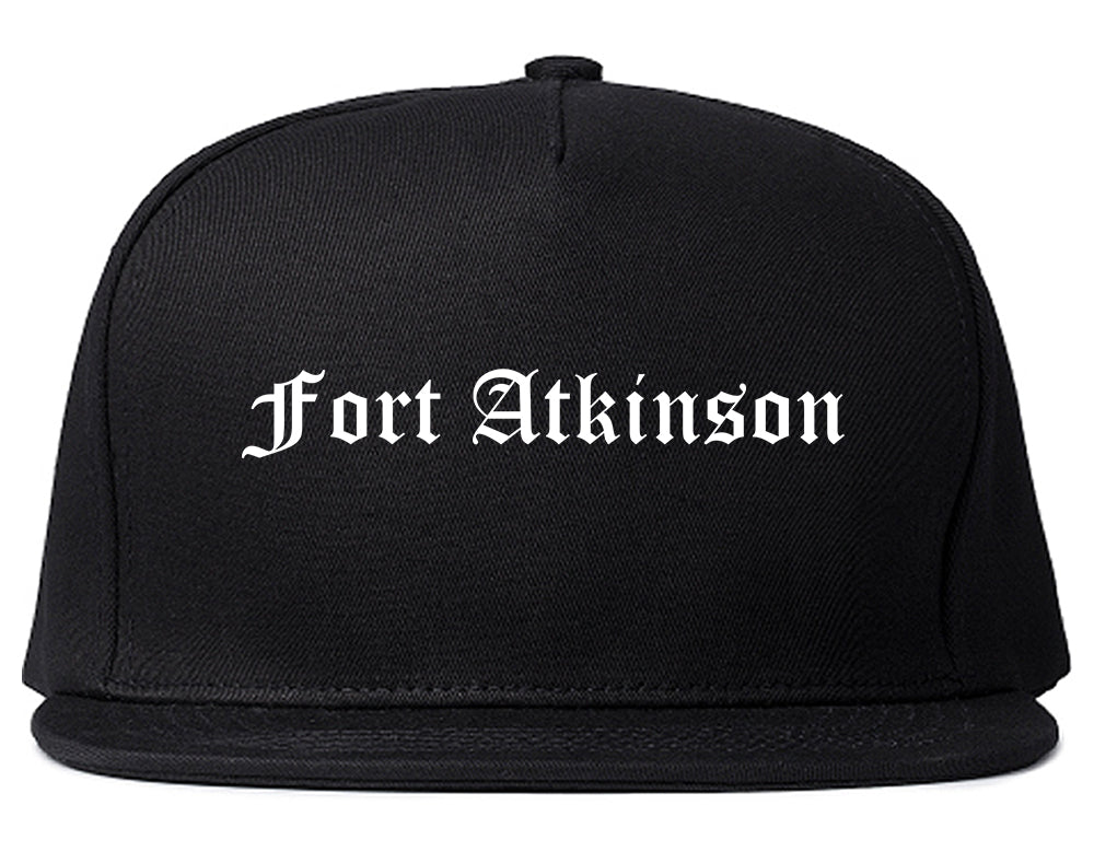 Fort Atkinson Wisconsin WI Old English Mens Snapback Hat Black