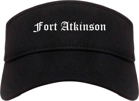 Fort Atkinson Wisconsin WI Old English Mens Visor Cap Hat Black