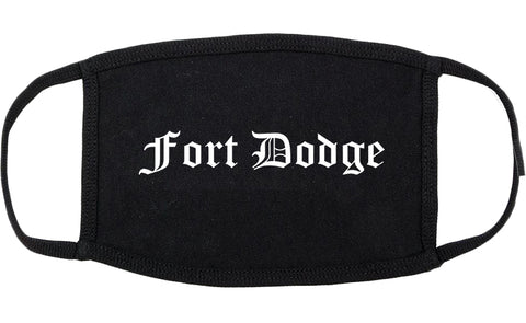 Fort Dodge Iowa IA Old English Cotton Face Mask Black