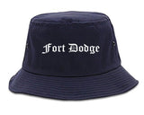 Fort Dodge Iowa IA Old English Mens Bucket Hat Navy Blue