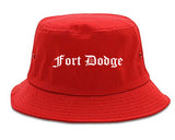 Fort Dodge Iowa IA Old English Mens Bucket Hat Red