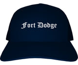 Fort Dodge Iowa IA Old English Mens Trucker Hat Cap Navy Blue