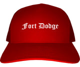 Fort Dodge Iowa IA Old English Mens Trucker Hat Cap Red