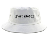 Fort Dodge Iowa IA Old English Mens Bucket Hat White