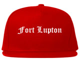 Fort Lupton Colorado CO Old English Mens Snapback Hat Red