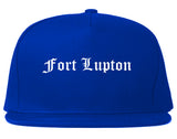 Fort Lupton Colorado CO Old English Mens Snapback Hat Royal Blue