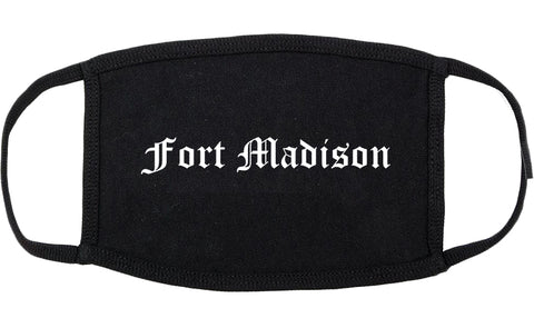 Fort Madison Iowa IA Old English Cotton Face Mask Black