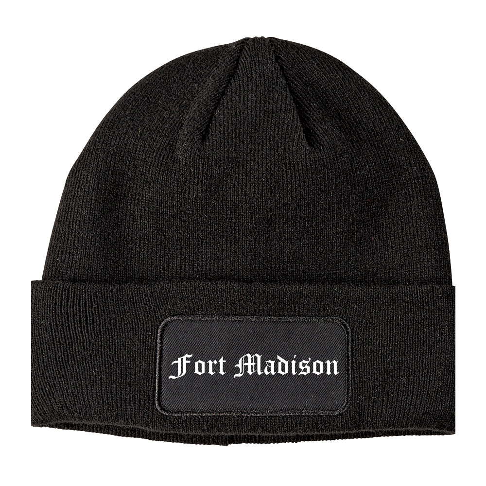 Fort Madison Iowa IA Old English Mens Knit Beanie Hat Cap Black
