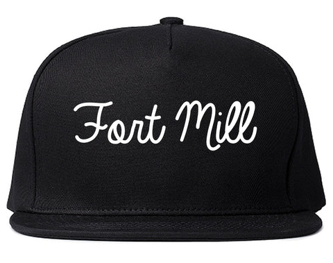 Fort Mill South Carolina SC Script Mens Snapback Hat Black