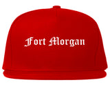 Fort Morgan Colorado CO Old English Mens Snapback Hat Red