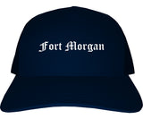 Fort Morgan Colorado CO Old English Mens Trucker Hat Cap Navy Blue