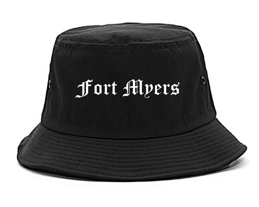 Fort Myers Florida FL Old English Mens Bucket Hat Black