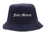 Fort Myers Florida FL Old English Mens Bucket Hat Navy Blue