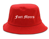 Fort Myers Florida FL Old English Mens Bucket Hat Red