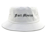 Fort Myers Florida FL Old English Mens Bucket Hat White