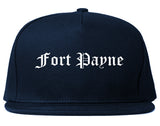 Fort Payne Alabama AL Old English Mens Snapback Hat Navy Blue