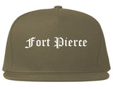 Fort Pierce Florida FL Old English Mens Snapback Hat Grey