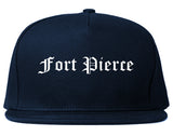 Fort Pierce Florida FL Old English Mens Snapback Hat Navy Blue