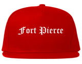 Fort Pierce Florida FL Old English Mens Snapback Hat Red