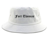 Fort Thomas Kentucky KY Old English Mens Bucket Hat White
