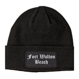 Fort Walton Beach Florida FL Old English Mens Knit Beanie Hat Cap Black