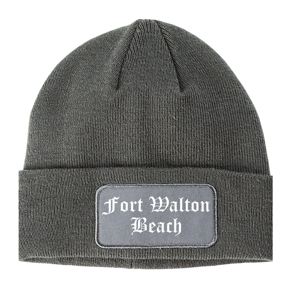 Fort Walton Beach Florida FL Old English Mens Knit Beanie Hat Cap Grey