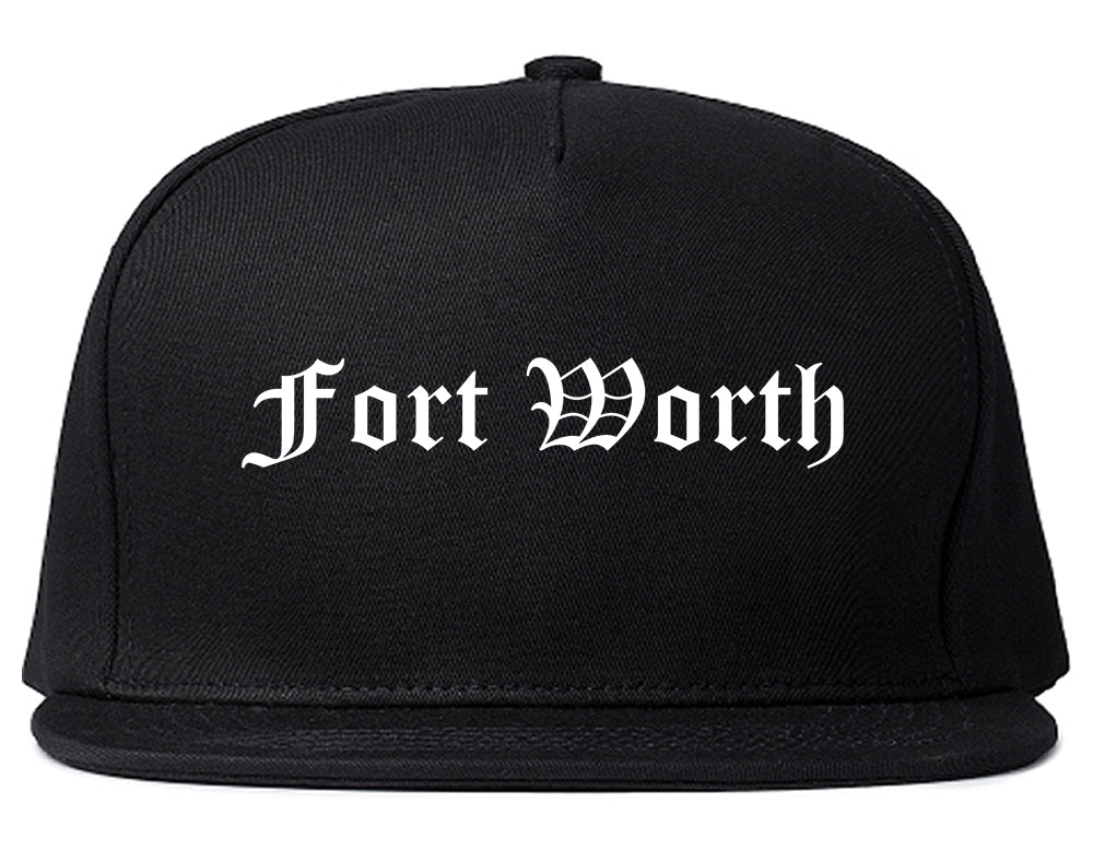Fort Worth Texas TX Old English Mens Snapback Hat Black
