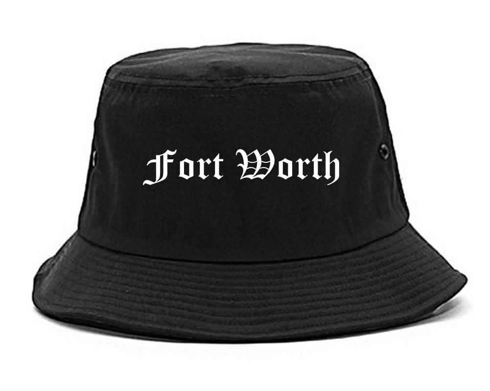 Fort Worth Texas TX Old English Mens Bucket Hat Black