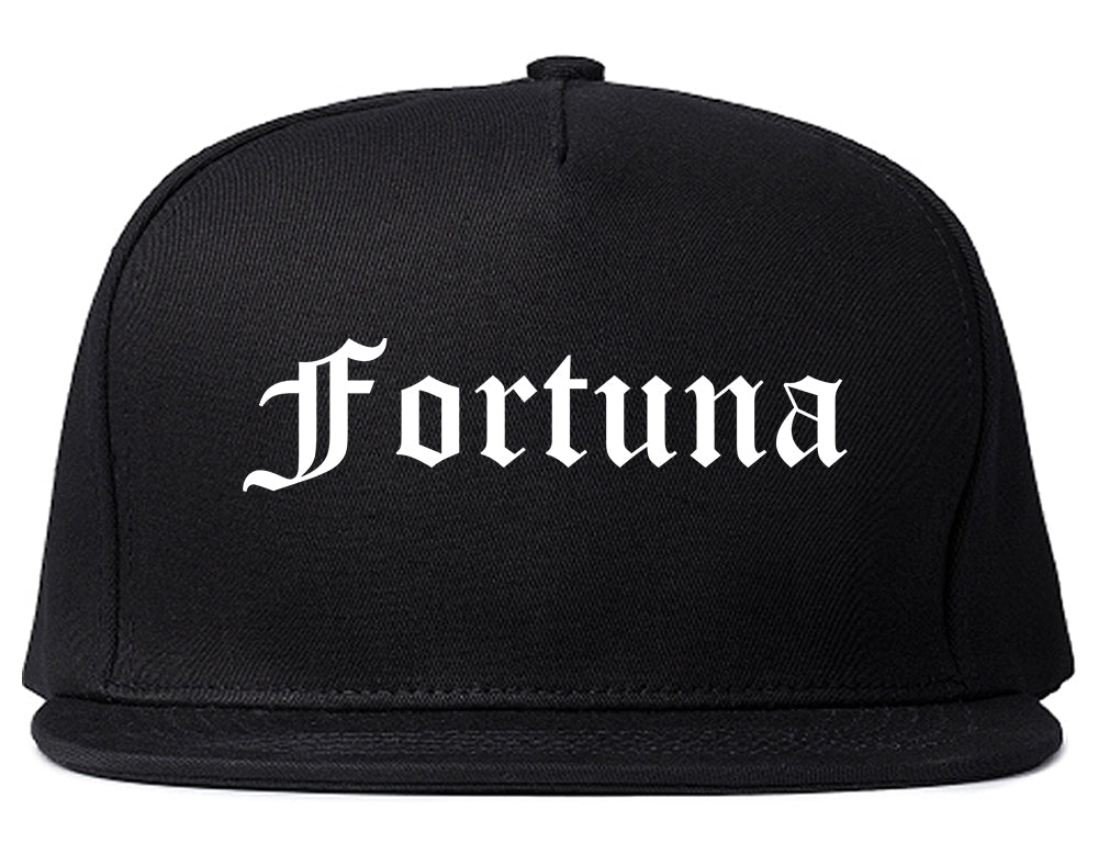Fortuna California CA Old English Mens Snapback Hat Black