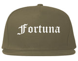Fortuna California CA Old English Mens Snapback Hat Grey