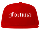 Fortuna California CA Old English Mens Snapback Hat Red