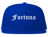 Fortuna California CA Old English Mens Snapback Hat Royal Blue