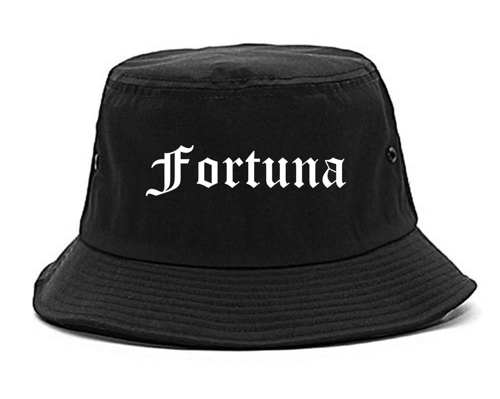 Fortuna California CA Old English Mens Bucket Hat Black