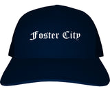 Foster City California CA Old English Mens Trucker Hat Cap Navy Blue