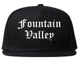 Fountain Valley California CA Old English Mens Snapback Hat Black